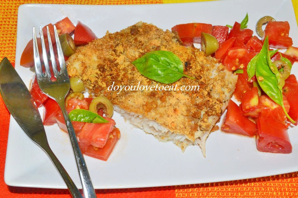 Parmesan-crumbed baked perch