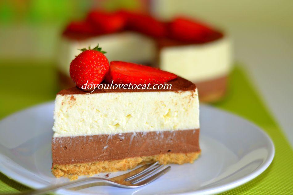 Двуцветна торта с бял и черен шоколад – без печене на пълнежа